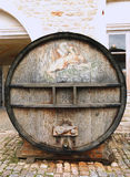 An old painted wine barrel in Chateau de Pommard, France Royalty Free Stock Photos