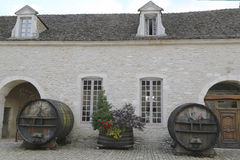 An old painted wine barrels in Chateau de Pommard, Burgundy, France Royalty Free Stock Image