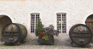 An old painted wine barrels in Chateau de Pommard, France Stock Images