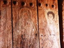 Old painted wooden church door Stock Image