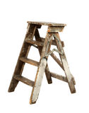 Old painters ladder. Old wooden painters ladder isolated Royalty Free Stock Photography