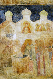 Old painting on the Arkhangels church wall. Royalty Free Stock Photo