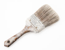 Old painting brush. Brush painting white paint color old dirty Stock Images