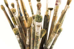 Old painting brushes Stock Photos