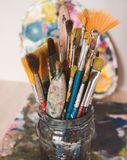Old Painting Brushes in Jar stock photo