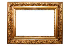 Old painting frame, isolated on white (No#2). Old painting frame, golden, isolated on white (No#2 Stock Photo