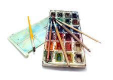 Old Paints and brushes Royalty Free Stock Photo