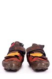 Old pair of off-road cycling shoes Royalty Free Stock Image