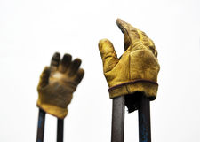 Old pair of work gloves of a welder worker Royalty Free Stock Image