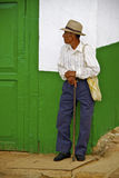 Old Paisa Man, Colonial House, Colombia Royalty Free Stock Image