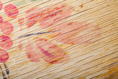 Old paited wooden cutting board. Fragment Royalty Free Stock Photos