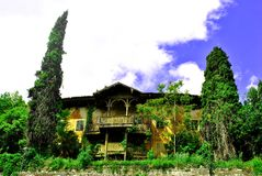 Old palace. Of wood and style idiano surrounded by vegetation and cypress trees and in a state of neglect royalty free stock photos