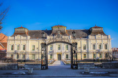 Old palace, culture home in VrÅ¡ac, Serbia. Austrian style architecture, old palace that serves as culture institution in Vršac, Serbia stock photo