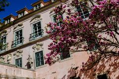 Exterior of the Marquis of Pombal Palace with busts and decorative statuary, tree with spring flowers, Oeiras - Portugal. Old Palace Marquis of Pombal located in royalty free stock photo