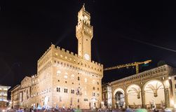 Old Palace (Palazzo Vecchio) at night in Florence Royalty Free Stock Images