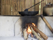Old pan boils on stove. With raw firewood Stock Photo