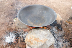 Old pan and craft for steam cooking on stove Royalty Free Stock Photos
