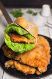 Old pan with  fried schnitzel and roll Stock Photos