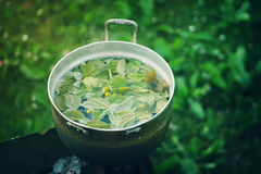 Old pan on stove outdoors. In process of herbal tea preparation Royalty Free Stock Image