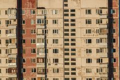 Old panel house. Fragment of the facade Stock Photography