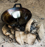 Old pans And stone stove Royalty Free Stock Photo