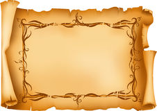 Old paper. Frayed old paper scroll with floral frame. Additional format EPS8 Royalty Free Stock Photos