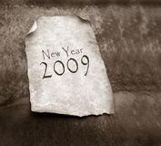 Old paper with 2009. 2D art Royalty Free Stock Photos
