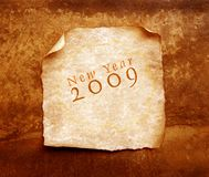 Old paper with 2009. 2D art Stock Images