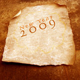 Old paper with 2009. 2D art Royalty Free Stock Images