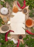 Old paper. For recipes and spices Royalty Free Stock Photos