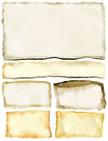 Old paper. Old ragged yellow papers backgrounds set Stock Photo