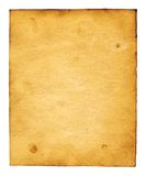 Old paper. Sheet of the old paper which has turned yellow from time. The picture is convenient for drawing on it of the text or images Royalty Free Stock Image