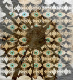 Old  paper. With  ornamental  pattern  of  hands  and  eyes Royalty Free Stock Photo