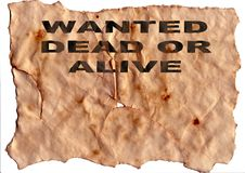 Old Paper. Old Yellow/Brown Paper, titled Wanted dead or alive stock photo
