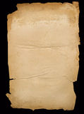 Old paper. Sheet old, yellow, fragmentary, paper mint on a black background Royalty Free Stock Photo