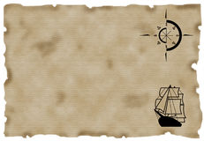 Old paper. Ship and Compass on aged paper Royalty Free Stock Photo
