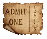 Old paper admission ticket Stock Photo