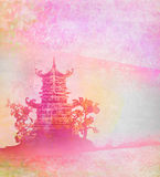 Old paper with Asian Landscape Royalty Free Stock Photography