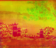 Old paper with Asian Landscape. Raster illustration Royalty Free Stock Images