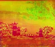 Old paper with Asian Landscape. Raster illustration vector illustration