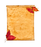 Old paper with autumn leaves, autumn note Royalty Free Stock Image