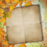 Old paper with autumn leaves Royalty Free Stock Images
