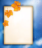 Old paper with autumn leaves over wet window Stock Photo