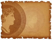 Old paper background with Ancient Roman medallion. Horizontal background with antique locket with profile of man face . Manuscript with charred edges. Vector royalty free illustration