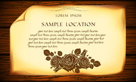 Old paper on the background of a blackboard. Old paper with sample text and vintage roses Stock Image
