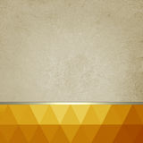 Old paper background with bright orange and gold low poly footer and gold ribbon Stock Photo