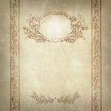 Old paper background with decorative frame and border. Royalty Free Stock Images