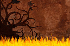 Old paper background on fire Stock Photo