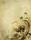 Old paper background with floral pattern. Old paper with floral pattern and space for text in the shape of parchment Stock Images