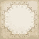 Old paper background with lace frame Royalty Free Stock Photo
